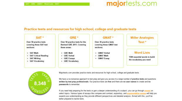 Major Tests - website luyện thi SAT online
